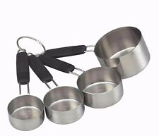 KITCHENCRAFT Stainless Steel Measuring Cups Set 4. Cup Measures Soft Grip Handle