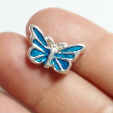 1pc Blue Enamel Butterfly Beads Silver Plated Metal Spacers 17x10mm B71161