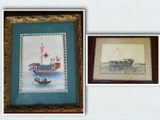 Antique Chinese Framed Watercolour Pith Rice Paper Boat Paintings