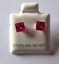 5mm Quadrat Prinzess Schliff rubin Cubic Zirkonia Sterling Silber Ohrstecker