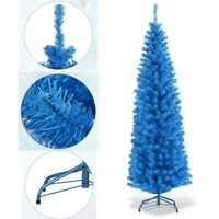 Blue Pencil Christmas Tree Unlit Slim Artificial Tree  With Stand Xmas Tree 6 FT