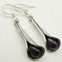925 Solid Silver Real Drop Amethyst Dangle Earrings 4.2 cm New Stone