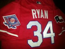 Texas Rangers #34 Nolan Ryan Throwback Jersey RED New Tag dual patch sewn