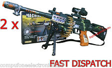 2 x Children Kids Electric Toy Machine Gun With Sound Light And Vibration 62cm