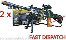 2 x BAMBINI KIDS Electric Toy Machine Gun CON LUCE SUONO E VIBRAZIONI 62 cm
