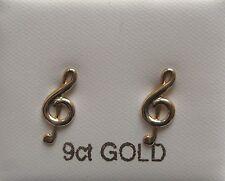 9 Karat Gold Violinschlüssel Ohrstecker