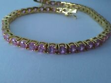 """New Fancy gold-plated TENNIS bracelet Pink CZ stones 8.5"""" INCH Classic style"""
