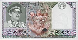 Nepal 10 Rupees , ND. 1974 P 24sct Color Trial Specimen Rare