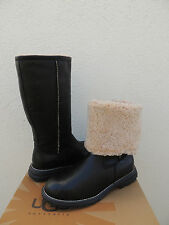 UGG BROOKS TALL BLACK LEATHER/ SHEARLING LINED WINTER BOOTS, US 11/ EUR 42 ~ NEW