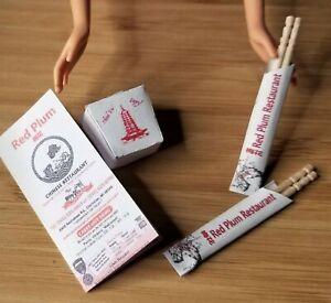 """1:6 scale Chinese Takeout Box, Menu & Chopsticks Accessories Barbie G.I. Joe 12"""""""