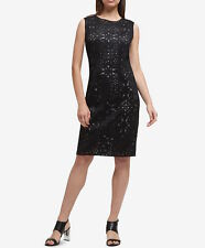 DKNY Women Black Lasercut & Mesh Sheath Dress Size 8 NWT MSRP 129$+TAX