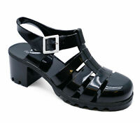 WOMENS BLACK CHUNKY HEEL PLATFORM JELLY HOLIDAY SANDALS PUMPS SHOES SIZES 3-8