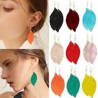 Women Lambskin Leather Willow Leaf Earrings Ladies Ear Hook Drop Dangle Jewelry