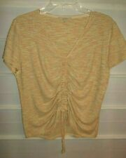C & V Chelsea Violet Yellow Orange Gray SS Knit Ruched Front Top Large EC!