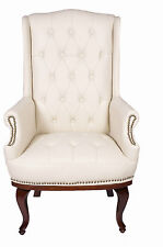 Chesterfield Queen Anne Style Chair Luxury Leather Armchair Wingback Fireside Antique Black