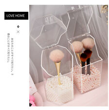 Plastic Clear Acrylic Makeup Brush Pearls Holder With Lid Dustproof Organizer