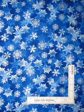 Christmas Snowflake Cobalt Winters Pearl Cotton Fabric Kanvas Studio By The Yard
