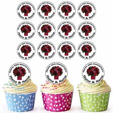 40th Anniversary 24 Personalised Pre-Cut Edible Cupcake Toppers Ruby Flowers