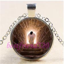 Glass Tibet Silver Pendant Necklace#Ca85 Resurrection of Jesus Photo Cabochon