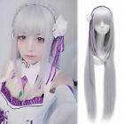 Re:Zero kara Hajimeru Isekai Seikatsu Emilia Long Wig  Headwear Cosplay Prop