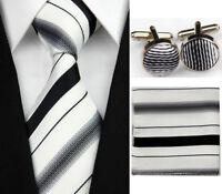 White Black Striped Necktie Men's Tie Silk Cufflinks Hanky Handkerchief Set New