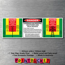 Clearance for operating power lines sticker oh&s water/fade proof 7yr vinyl