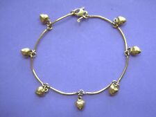 "GORGEOUS Unique 22K Yellow Gold Hearts Charm Bracelet Women Ladies 7"" MUST SEE"