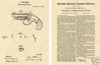 DERRINGER PISTOL 1866 US PATENT Art Print READY TO FRAME!!  Williamson breech