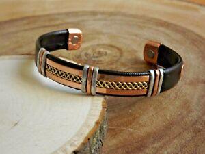 Solid Copper Leather Wrapped Magnetic Bracelet Men Women Energy Pain Copper