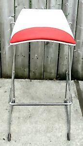 Vintage Bar Stool / Tall Chair Chrome Retro, Mid-Century Red White
