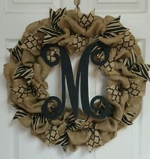 Burlap And Black Quatrefoil Zebra Print Monogram Initial Wreath