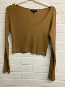 Topshop Long Sleeve Ribbed Low Neck Cropped Top Size 6