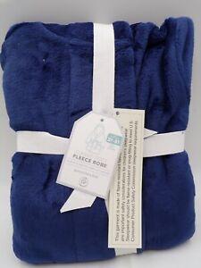 Pottery Barn Kids Classic Cozy Fleece Solid Robe Plush Soft 2T 3T SM Navy #9145