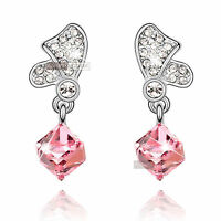 18k white gold gp made with SWAROVSKI crystal pink stud drop dangle earrings