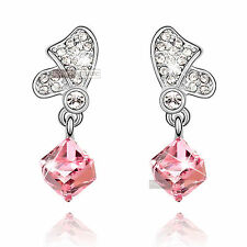 18k white gold gp made with SWAROVSKI crystal wedding party pink stud earrings