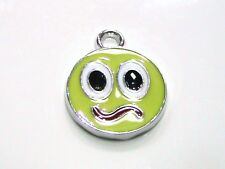 2 x 18mm Round Yellow Enamel Face Charm Pendant Craft Kids Jewellery N11