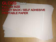 500 x A4 bianco lucido [ ] Autoadesivo Adesivo Di Carta Foglio Indirizzo Etichetta 1st Class