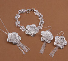 925 Sterling Silver Layered  Filigree flora Earring/Bracelet/Necklace Set S-A345