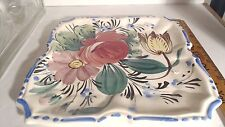 Vintage Floral Pattern Majolica 7 Inch Square Plate Signed #7/117 MBD Italy