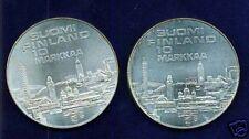 FINLAND  1971-S-H  & 1971-S  10 MARKKAA  SILVER COINS, LOT OF (2)