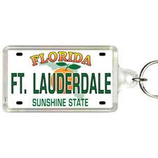 "Ft. Lauderdale Flordia License Plate Acrylic Rectangular Souvenir Keychain 2.25"""