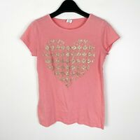 Crewcuts J.Crew Girls Pink Gold Sparkle Glitter Heart Pattern Shirt Size 14