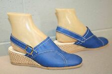 6.5 Nos Blue Vinyl Vtg 70s Sandal Shoe Wedge Heel Espadrille Jute SlingBack Clog