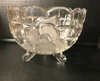 Glass Bowl Frosted Rose Flower Design Crystal Footed 3 Feet Round Scalloped Edge