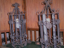 set of 2 vintage wrought iron hanging lights