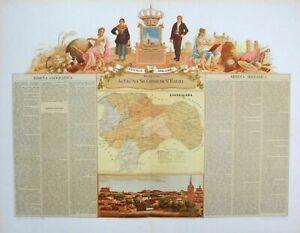 1870 Guadalajara Espana Spain Spanien map Karte carta Lithographie Litho chromo