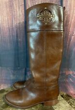 Tory Burch Kiernan Riding Boots Almond Brown Leather Full Zip Logo  Size 5M GUC