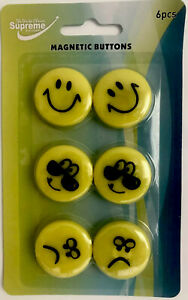 6 Magnetic Buttons-Smiley Design-Ideal Fridges Whiteboards Any Magnetic Surfaces