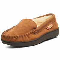Alpine Swiss Yukon Mens Suede Shearling Slip On Moccasin Slippers Chestnut 10