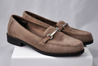 Jaclyn Smith Suede Loafers Women's Tan Brown Silver Accents Size 9.5 Shoes 9 1/2